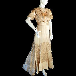 Antique c. 1910 Edwardian Evening Dinner Tea Gown Dress Irish & Point De Gaze Lace