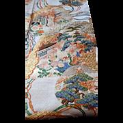 "Vintage Antique Japanese Kimono Obi METALLIC GOLD Silk Brocade 120"" PHOENIX"