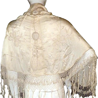 Antique Edwardian Silk Canton Embroidered Capelet Floral Piano Shawl Fringe VTG