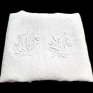"Vintage c. 1920s 32"" Monogram ""ML"" White FRENCH Linen Damask Napkins Set 12 & Table Cloth"