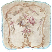 Antique FRENCH AUBUSSON Tapestry Floral Piece for Chair or Pillows