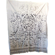 French Antique Linen Filet Crochet Lace ROSES Bed Cover Drapes Curtain 8ft x 5