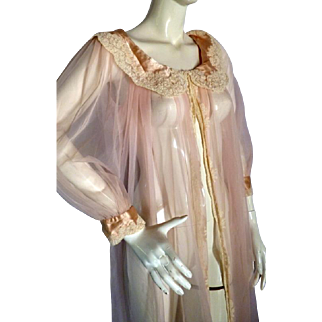 RARE 1950s Juel Park Beverly Hills Pink Lace Prignoir Negligee Hollywood Haute Couture