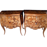 Exquisite 19th Century Pair of Dutch Marquetry Bombe Commode Chest Bedside Tables