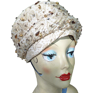 1950s 1960s Christian Dior Paris Chapeaux Couture Beaded Gold Brocade Hat 21.5""