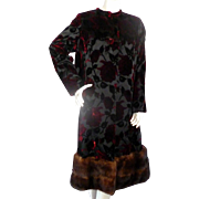 Vintage Sable Fur & Velvet Rose Long Coat from BEVERLY HILLS Large Bust 44""
