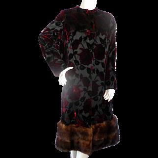 """Vintage Sable Fur & Velvet Rose Long Coat from BEVERLY HILLS Large Bust 44"""""""