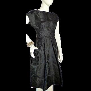 Vintage 1950s BLACK JACQUARD Cocktail Little Black Dress Bust 36