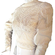 Late 1800s 1900s Antique FRENCH Victorian Edwardian BLOUSE Lace Whitework
