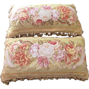"""Pair Antique 19th Century FRENCH Tapestry 24"""" Pillows Wool Roses Flowers"""