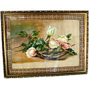 Antique Victorian ROSES Oil Painting Still Life With Metallic Ribbon Border