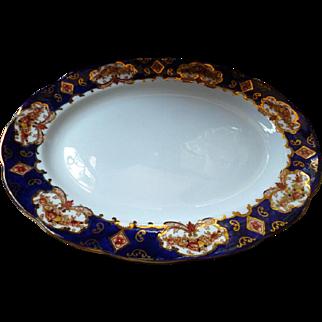 "Rare 15"" Serving Platter Royal Albert Heirloom Gold & Cobalt Background MINT"