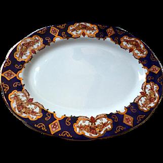 "Rare 13"" Serving Platter Royal Albert Heirloom Gold & Cobalt Background MINT"
