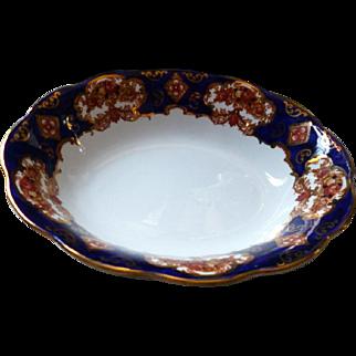 """Rare 9"""" Oval Serving Bowl Royal Albert Heirloom Gold & Cobalt Background MINT"""
