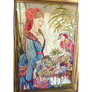 """Antique 1870s Victorian Needlepoint Picture BEAUTIFUL WOMAN & PARROT 20""""x 30"""""""