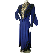 Antique 1890s 1900s Royal Blue Beaded Bodice Dress Victorian Edwardian