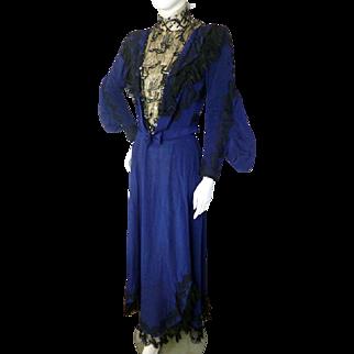 Antique 1890s 1900s Royal Blue Beaded Bodice Dress Victorian Edwardian