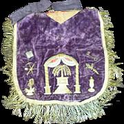 RARE 1800s Antique Masonic Fraternal Order Metallic Embroidery Apron