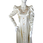 1930s Moonlight Satin Wedding Gown HOLLYWOOD GLAMOUR 6+ft Train