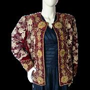 Vintage Indian Metallic Heavily Embrodiered Jacket Coat Evening Christmas Medium-Large