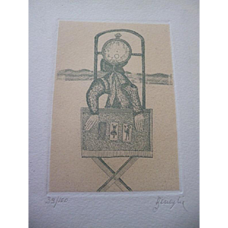 Set of 5 MID CENTURY Pencil Signed Enrico Benaglia Surrealist Abstract Etchings Prints