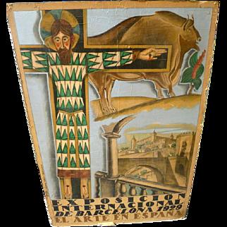 ORIGINAL 1929 Arte en Espania Exposicion International de Barcelona Poster Gali Hispanic Art