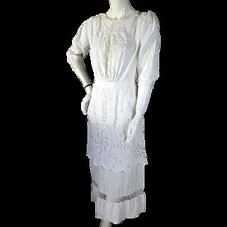 Antique 1910s Lace Tea Dress ART NOUVEAU Floral Embroidery Edwardian