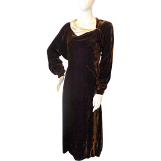 Lovely 1930s Vintage BROWN VELVET Asymetric Neckline Dress