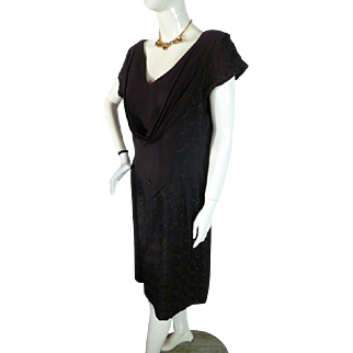 Fabulous 1940s Vintage Embroidered Rayon Little Black Dress Large