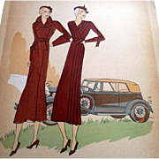 RARE 1930s Art Deco Pochoir Fashion Clothing Hand Painted Print Designer PATOU