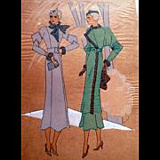 RARE 1930s Art Deco Pochoir PARIS French Fashion Dress Hand Painted Print