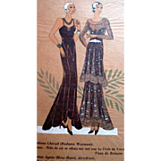 RARE 1930s Art Deco Pochoir Fashion Dress Hand Painted Print Paris Designers Cheruit & Agnes