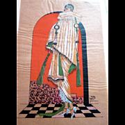 RARE 1920s Art Deco Pochoir Fashion Dress Hand Painted Paris Fur Designer REVILLION