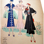 RARE 1930s Art Deco Pochoir Fashion Clothing Hand Painted Print Mirande Doucet Paris Designer