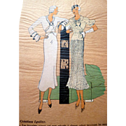 RARE 1930s Art Deco Pochoir Fashion Hand Painted Print DESIGNER Lyoline
