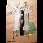 RARE 1930s Art Deco Pochoir Fashion Hand Painted Print DESIGNER Lyoline
