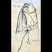 Original 1960s GRIFFE Fashion Stat Sheet Drawing