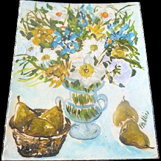 Artist Signed Dollhouse Miniature Painting Impressionist Floral Still Life