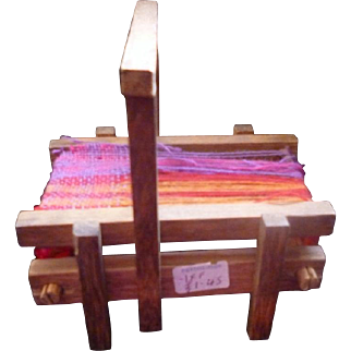 Vintage Dollhouse Miniature Wooden LOOM Weaving Marked Portmeirion French 1:12