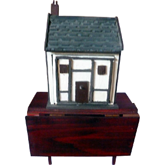UNIQUE All wood Dollhouse for your Dollhouse!  Extra Small Dollhouse from Museum Display Artist Signed ENGLAND