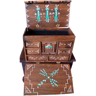 Fantastic Vintage Soutwest Native American Kachina Painted Chest Dollhouse Miniature