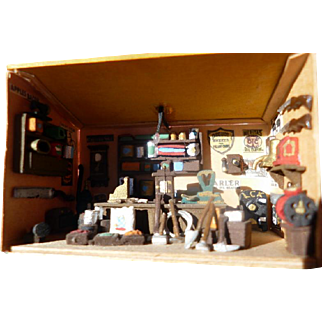 """Super Miniature 1.5""""  Room Box for Dollhouse Old West General Store Diorama & Table Vintage"""