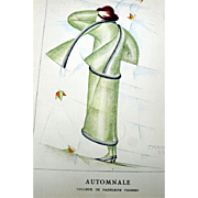 RARE 1920s Art Deco GAZETTE BON TON Pochoir Fashion Print Vionnet 1923 Artist Ernesto Michahelles