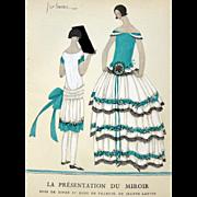 RARE 1920s Art Deco GAZETTE BON TON Pochoir Fashion Print Lanvin 1923