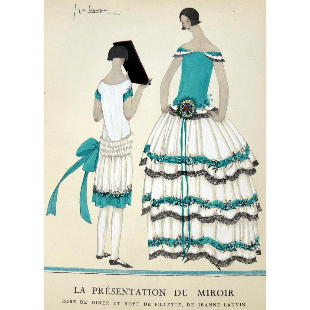 Rare 1920s art deco gazette bon ton pochoir fashion print for Pochoir technique
