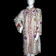 Exquisite Vintage Circa 1960s Asian Embroidered Silk Coat