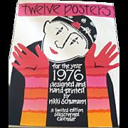 Nikki Schumann 1976 Calendar Posters Signed Silkscreen Prints FOLK ART 1st Year 11 Limited Edition Posters