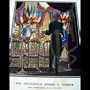 RARE 1920s Art Deco GAZETTE BON TON Pochoir Fashion Print 1923