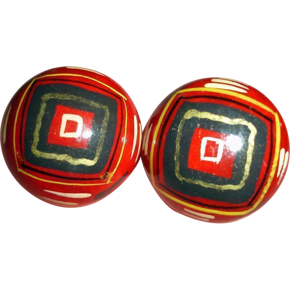 MOD Hand Painted Wooden Domed Pierced Earrings - Vintage Wood Pierced Post Stud Earrings