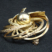 Vintage Mid Century Modern Gold Tone Brooch